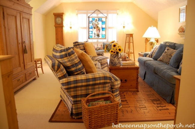 Blue and White Family Room with Antique Swedish Pine Furniture