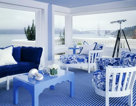 Blue and White Sun Room
