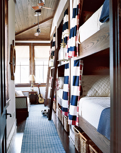 Blue and White Kids Bunk Room