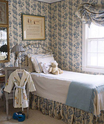 Blue and White Bedroom with blue and white wallpaper