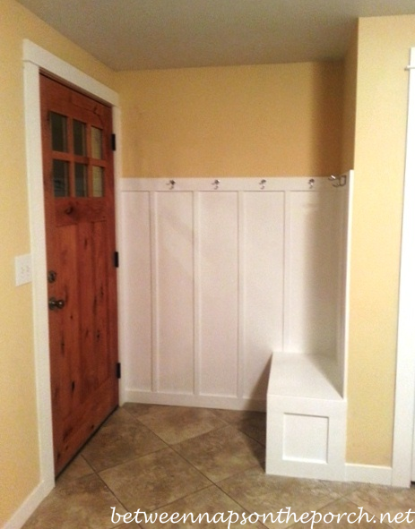 Small entryway makeover add board and batten wainscotting for Mudroom addition plans