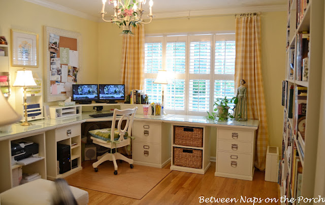 Home Office with Pottery Barn Bedford Furniture in Antique White