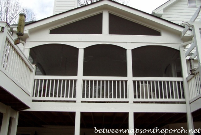 Screened in Porch with Bird Feeders