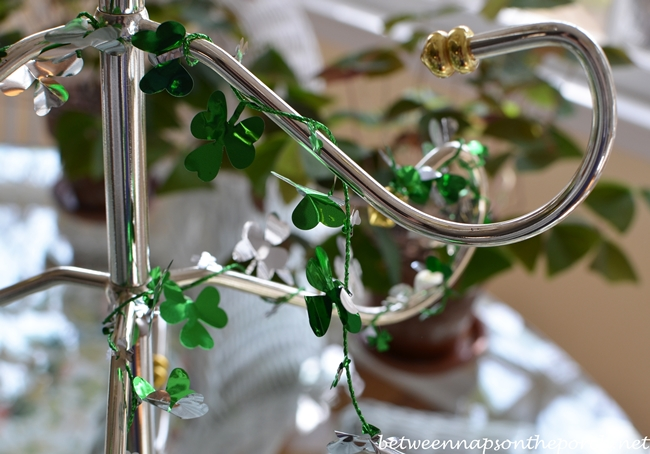 St. Patrick's Day Table Setting with Shamrock Cookie Tree Centerpiece