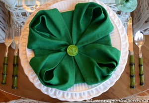 St. Patrick's Day Table Setting with 4-Leaf Clover Napkin Fold