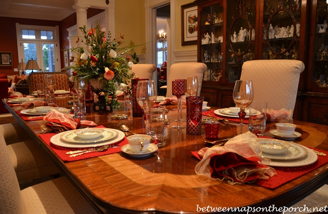 Valentine's Day Table Setting with Floral Centerpiece and Vintage China