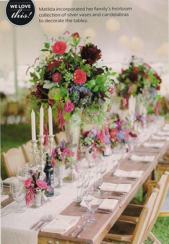 Wedding Centerpieces with Heirloom Silver