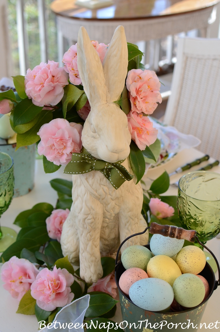 Easter Table Setting with Bunny Camellia Centerpiece