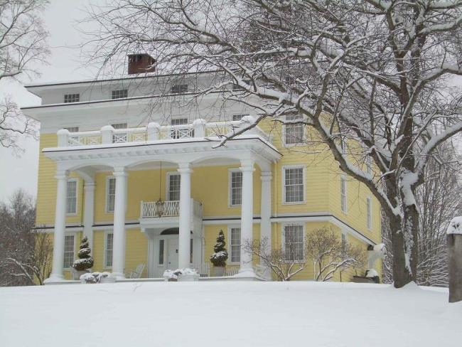 Historic Greek Revival Home in Snow