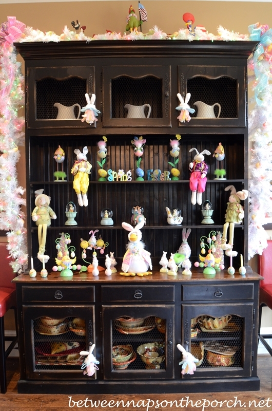 Hutch Decorated for Easter