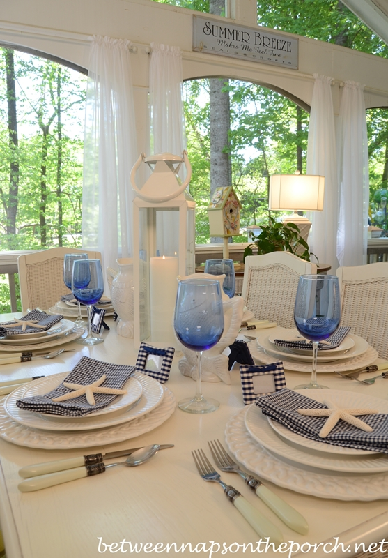 Blue and White Beach Coastal Themed Table Setting