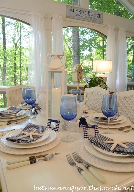 Blue and White Beach Coastal Themed Table Setting