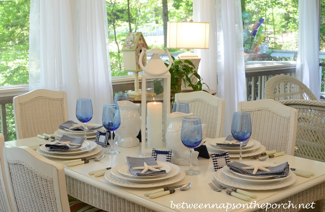 Blue and White Beach Coastal Themed Table Setting & Blue and White Nautical or Beach Themed Table Setting Tablescape