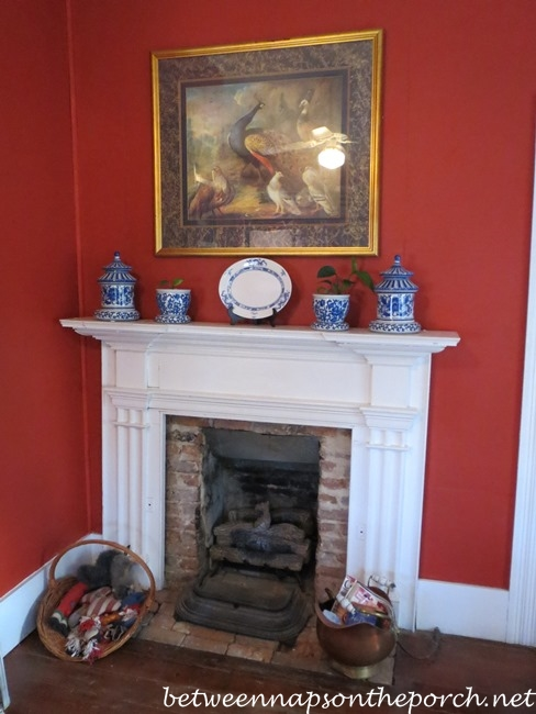 Fireplace with Blue and White Transferware