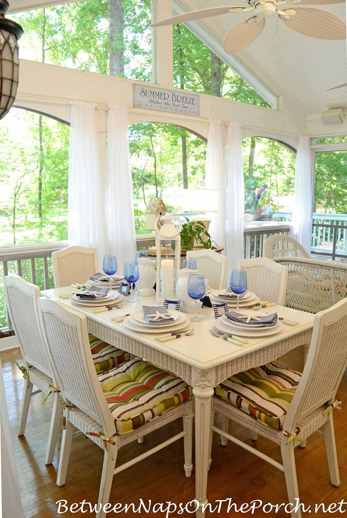 Nautical Beach Table Setting in Blue and White