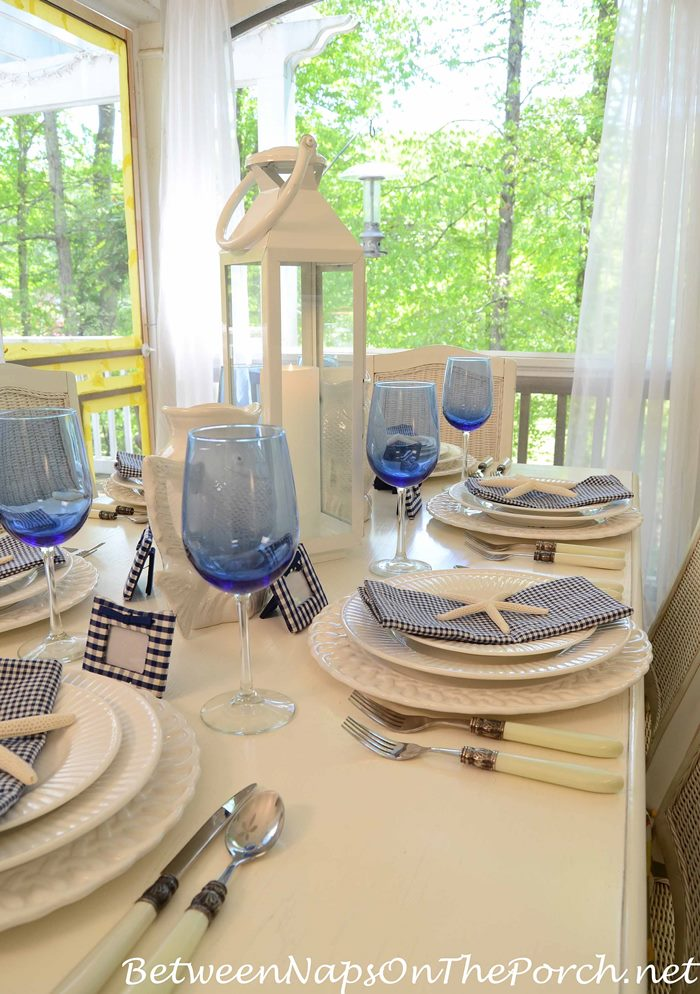 Spring Table in Nautical Blue and White