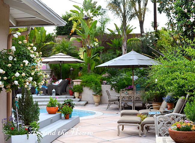 Beautiful backyard with fireplace pool and great seating Backyard ideas for entertaining