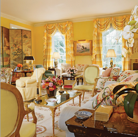 Beautiful Yellow Room Decorated by Mario Buatta
