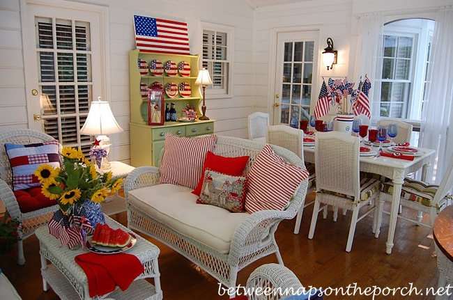 Porch Decorated for the 4th of July