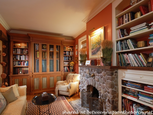 Red Library in Historic Home Equestrian Farm_wm