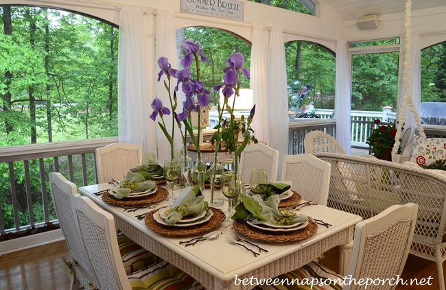 Spring Table Setting Tablescape with Iris Centerpiece, Twig Chargers and Twig Flatware