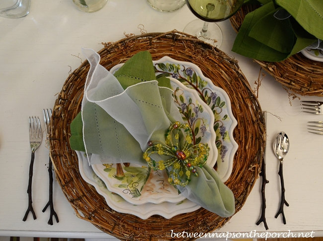 Attractive Spring Table Setting Tablescape With Iris Centerpiece, Twig Chargers, Ma  Maison Dishware And Twig