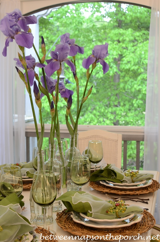 Spring Table Setting Tablescape with Iris Centerpiece, Twig Chargers, Ma Maison Dishware and Twig Flatware