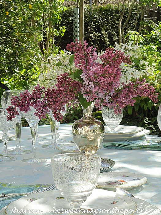 Spring Table Setting In Garden Of Lilacs And Wisteria
