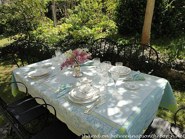Spring Table Setting in the Garden Wisteria and Lilac Centerpiece