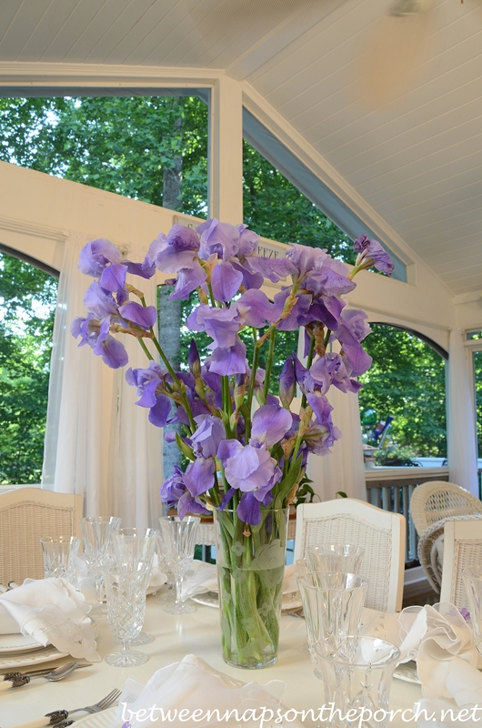 Spring Tablescape with Purple Iris Centerpiece