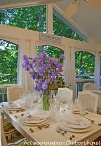 Spring Tablescape with Purple Iris Centerpiece