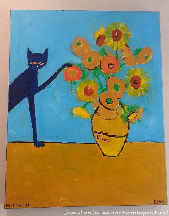 Vase of Flowers, Pete the Cat by Deen
