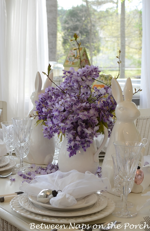 Easter Table Setting with a Bunny and Floral Centerpiece