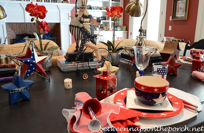 4th of July Patriotic Table Settings Tablescape with Patriotic Star Dishware 2_wm