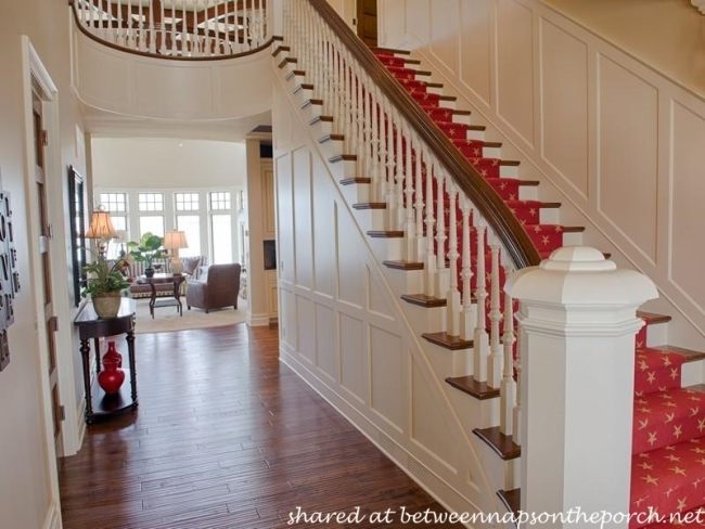 Red Staircase Runner with Star Design