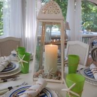 Beach Themed Table Setting Tablescape with Crab Plates and Starfish Centerpiece