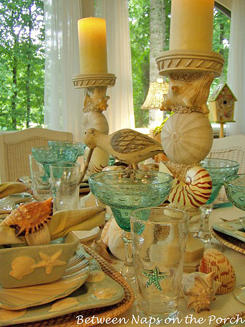 Beach Themed Table Setting with Shell Candlesticks