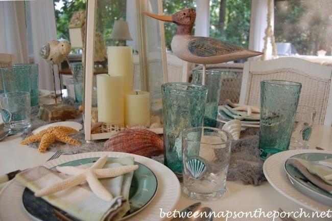 Beach Themed Table Setting with Sail Napkin Fold