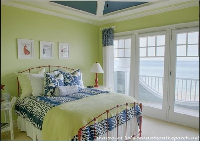 Beautiful Blue and White Bedroom with lakeside views