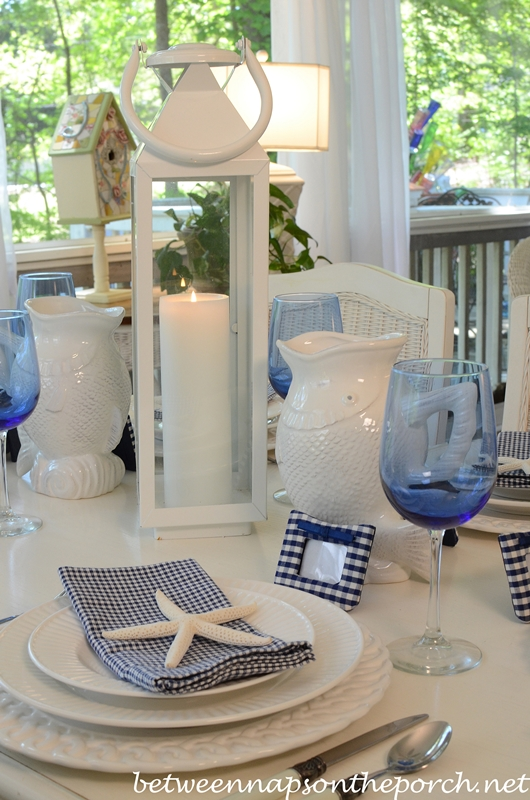 Blue and White Nautical Beach Themed Tablescape & Beach and Nautical Themed Table Settings Tablescapes