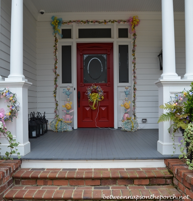 Porch Decorated for Easter