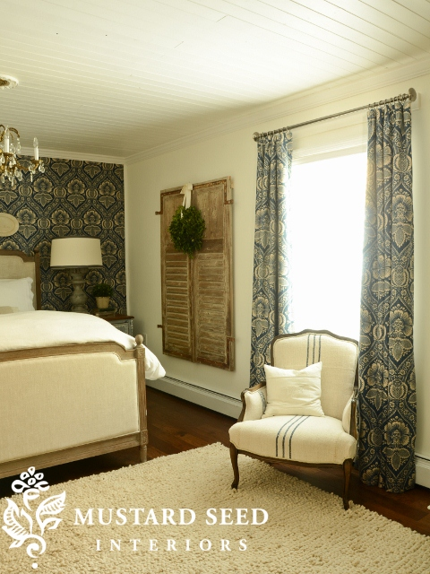 Miss Mustard Seed's Bedroom with Pkauffman Artissimo Navy Fabric Draperies