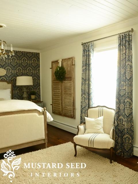 Miss Mustard Seed's Bedroom with Pkauffman Artissimo Navy Fabric Draperies