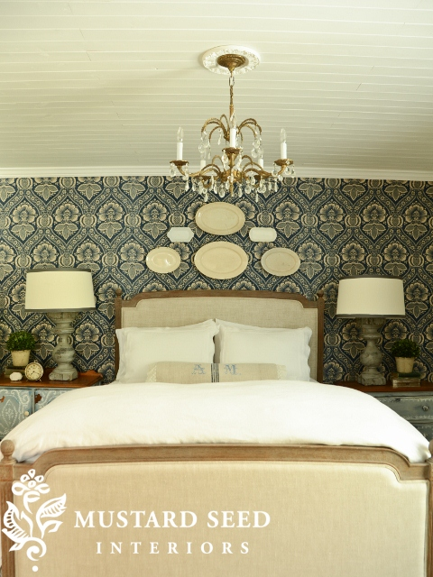 Miss Mustard Seed's Bedroom with Pkauffman Artissimo Navy Fabric on Wall