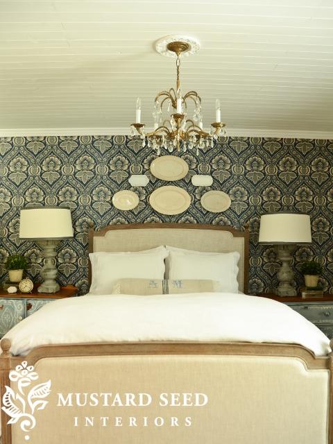 Miss Mustard Seed's Bedroom with Pkauffman Artissimo Navy Fabric on Wall