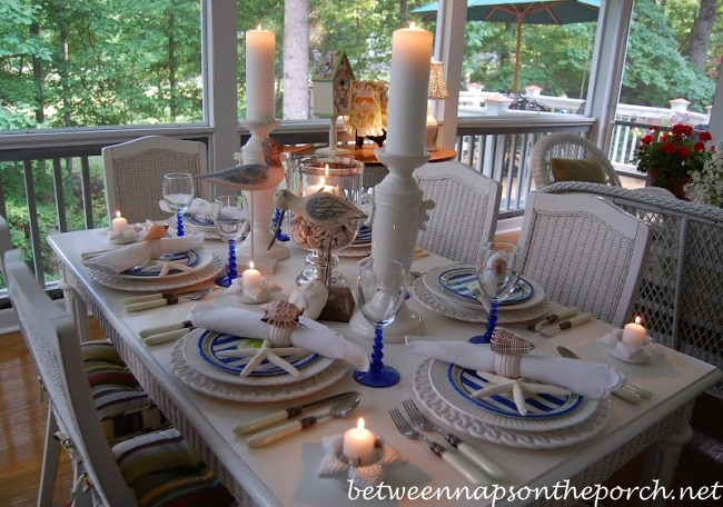 Nautical Beach Tablescape with  Crab Plates and Shell Napkin Rings