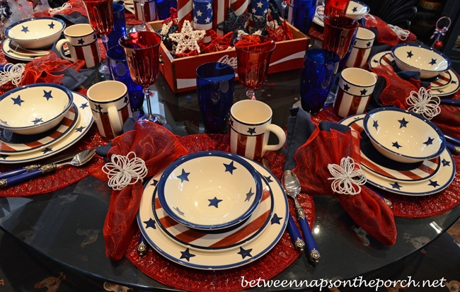 Patriotic Table Setting with Star Dishware