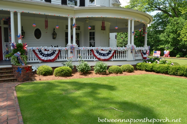 Porch Decorated for 4th of July