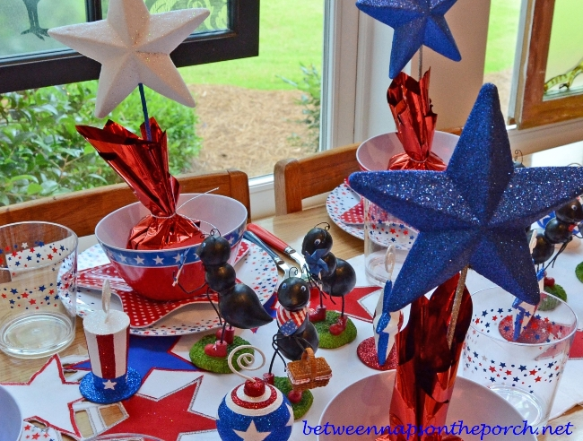 Three Mischievous Ants on a 4th of July Table Setting