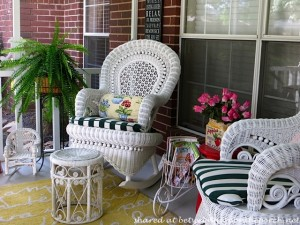 Victorian Screened Porch with white wicker